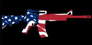 攻击步枪和旗子 免版税库存图片