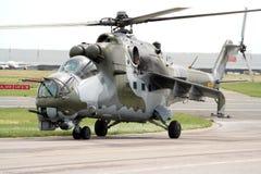 攻击用直升机后面俄语 免版税库存照片