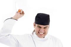 攻击的主厨刀子男 免版税库存图片