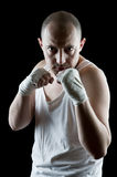 攻击的拳击手 库存图片