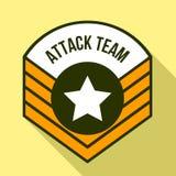 攻击队商标,平的样式 库存例证