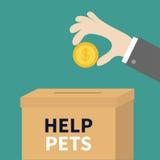 放与美元的符号的人的手金黄硬币金钱入捐赠纸纸板箱 帮手概念 捐赠并且帮助 免版税库存图片