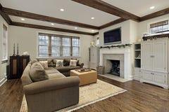放光最高限额家庭娱乐室木头 库存照片