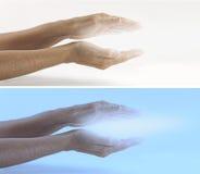 放光的Reiki医治用的能量x 2副横幅 免版税库存图片