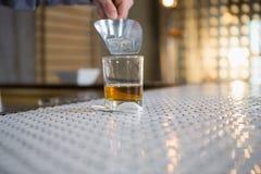 放冰块的侍者入与瓢的威士忌酒玻璃 免版税库存照片