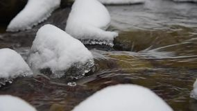 放出与雪和冰在冬天森林 影视素材