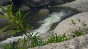 放出从流动在大石头的瀑布的水在山河 流程瀑布小瀑布的山河 股票录像