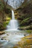 放出在红色岩石下的五颜六色的森林瀑布 免版税库存照片