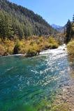 放出在从瀑布的河下的水 库存照片
