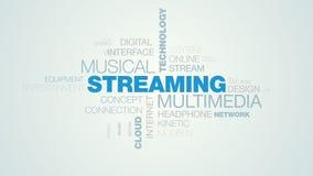 放出多媒体音乐技术媒介netflix流动无线电声调覆盖服务器赋予生命的词云彩背景  向量例证
