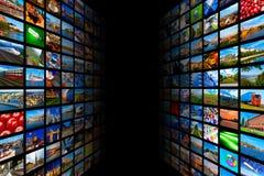 放出媒介技术和多媒体概念 库存图片