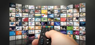 放出录影的电视 在要求时媒介电视 图库摄影