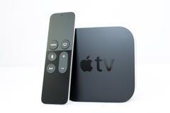 放出球员microconsole的新的苹果计算机电视媒介 免版税库存图片
