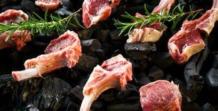 放在架子上的羊羔,与骨头的生肉在木背景的土气厨房用桌上 免版税库存图片