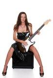 放大器深色的吉他性感的开会 免版税库存照片