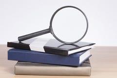 放大镜和被堆积的书财务概念 库存照片