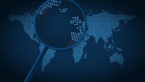 放大镜搜寻并且发现伦敦被加点的世界地图的 介绍动画 股票视频