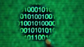 放大镜移动左到右,零和一个,绿色,阻拦了词 股票视频