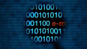 放大镜,零和一个移动左到右,蓝色,红色e金钱词 向量例证