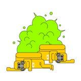 放射性废物爆炸  黄色纬向条花含毒物 死黄色 皇族释放例证