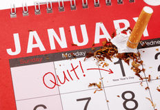 放弃抽烟的新年的决议 库存照片