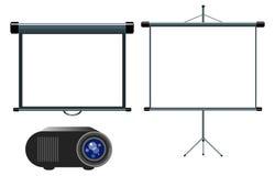 放映机和空白的放映机屏幕 免版税库存图片