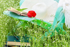 放松与一本书在春天庭院 免版税库存照片