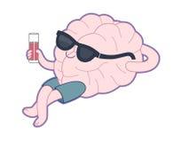 放松与一杯汁液,脑子汇集 库存图片