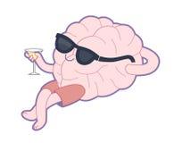 放松与一杯苦艾酒,脑子汇集 免版税库存照片