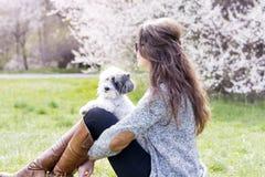 放松与她的白色狮子狗的美丽的妇女在春天庭院里 库存照片