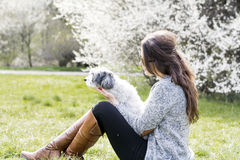 放松与她的白色狮子狗的美丽的妇女在春天庭院里 免版税图库摄影