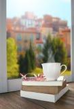 放松与杯子热的饮料茶或咖啡和书说谎的besi 免版税库存照片