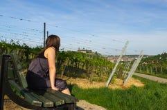 放松出于对葡萄领域landcape和Festung考虑的长凳的愉快的女孩或者堡垒Marienberg在背景中 免版税库存照片