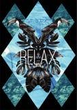 放松口号 toucan的水彩,图表叶子和蓝色海mir 库存照片