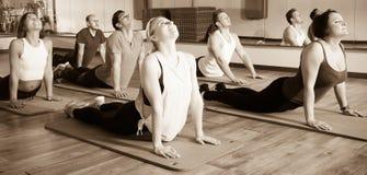 放松和享受瑜伽的人们 免版税库存照片