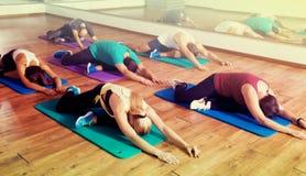 放松和享受瑜伽的人们 免版税图库摄影