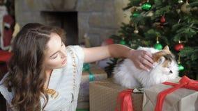 放松和使用与猫的俏丽的女孩在圣诞树4K附近 股票录像
