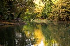 放松和日落在公园 免版税库存照片