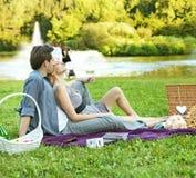 放松在公园的快乐的夫妇 库存图片