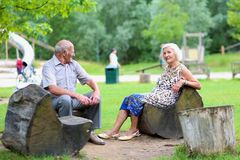 放松在公园的资深夫妇 免版税库存照片