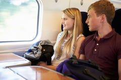 放松在列车行程上的年轻夫妇 免版税库存照片