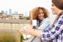 放松在屋顶庭院饮用的咖啡的两名妇女 库存照片