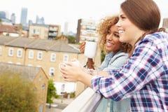 放松在屋顶庭院饮用的咖啡的两名妇女 免版税库存照片