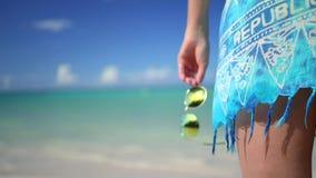 放松在异乎寻常的海滩的无忧无虑的年轻女人 加勒比热带假期 多米尼加共和国 股票录像