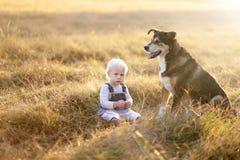 放松在有德国牧羊犬爱犬的国家的逗人喜爱的女婴 库存照片