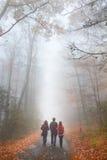放松在有雾的秋天公园的家庭 库存照片