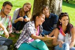 放松在校园十几岁草甸公园的学员 免版税库存照片