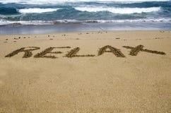 放松在沙子 免版税图库摄影