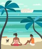 放松在海海滩传染媒介平的颜色概念的女孩 库存例证