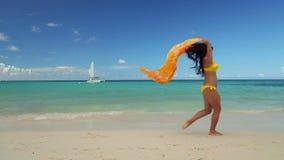 放松在海滩、健康生活方式和自由构想的年轻女人 股票录像